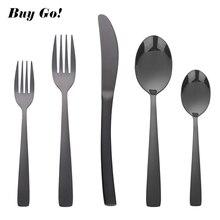 20 pieces Black Cutlery Set Stainless Steel Knife Forks Tablespoons Dinnerware TablewareDinnerware Tableware Silverware Sets Wed