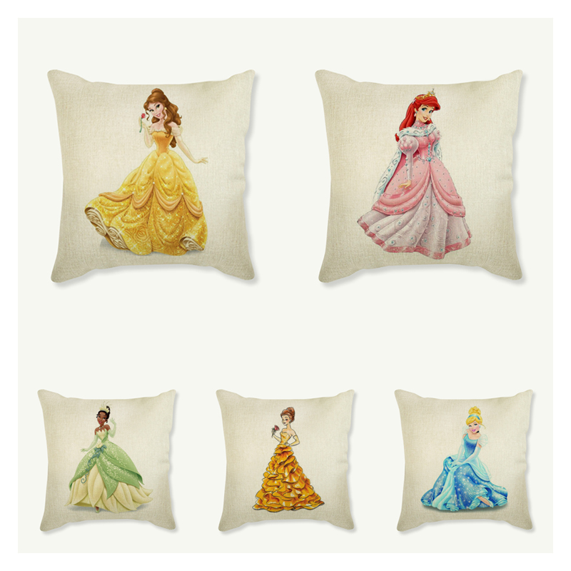 Amiable Beautiful Women And Colorful Flower Printing Cushion Covers For Sofa Cotton Linen Decorative Pillow Case 45*45cm Cojines Home & Garden