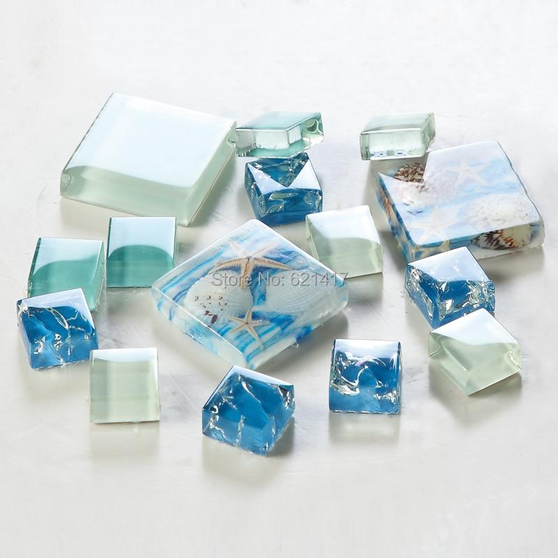 Novi! plava boja kristalno staklo miješan mozaik morske školjke za - Kućni dekor - Foto 5