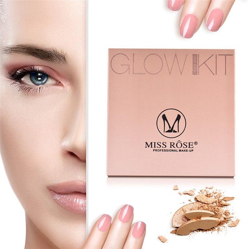 MISS ROSE Brand Face Base Pressed Powder Makeup Matte Shimmer Fix Palette Concealer Contour Nude Compact Cosmetics Highlighter