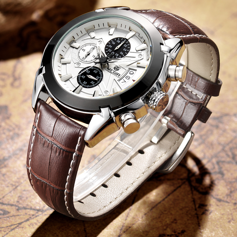 MEGIR Fashion Quartz Watch Men Military Sports Watches Leather Band Business Men's Waterproof Wristwatches Relogio Masculino megir b