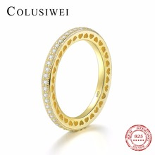 COLUSIWEI Fashion Real 925 Sterling Silver Forever Love Hearts Clear Gold Color Finger Ring For Women Wedding CZ Silver Jewelry(China)