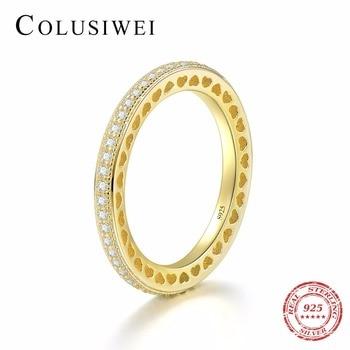 3b48d3f7112a Mujeres boda anillo de moda lindo mujer ronda anillo de circón de la Corona  de plata 925 de anillos