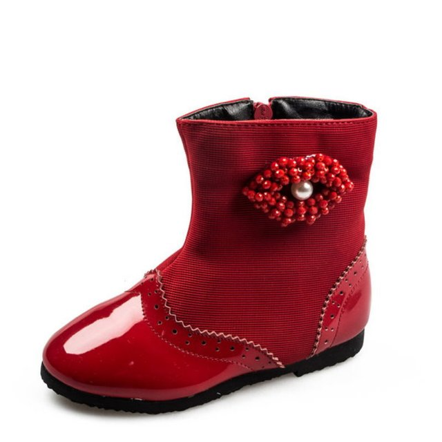 6d76ad35a49 2016 New Girls' Boots Fashion Shoes Children's Boots Girls Winter Baby  Princess Boost Eyes Pearl Ankle Top Warm shoes -in Boots from Mother & Kids