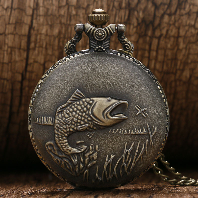 New Bronze Vintage Pocket Watch Necklace Chain Pendant Fishing Angling Full Hunter Quartz Fob Watch Relogio De Bolso Gift Bag