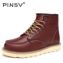 Pinsv осень Мужские Ботинки Ботильоны кожаные сапоги мужская зимняя обувь Мех ковбойские мотоботы Мужская обувь 6 цветов сапоги для мужчин