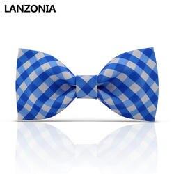 Ланзония Забавный синий и белый клетчатый узорчатый мужской галстук-бабочка Новинка Забавный галстук для женщин уникальные различные