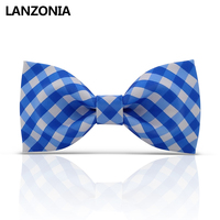 Lanzonia Funny Blue And White Plaid Patterned Mens Bow Tie Novelty Funky Neckwear Women Unique Different Types Of Bowtie
