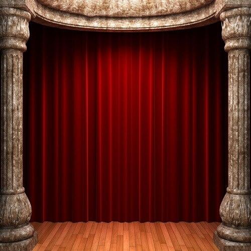 10x10FT Anitque Court Pillars Gate Dard Red Drape Curtain Wooden Stage Custom Photography Studio