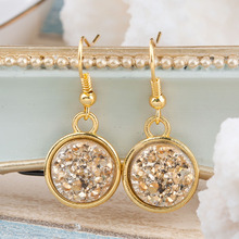 DoreenBeads Handmade Resin Drusy /Drusy Chic Earrings gold color Pink Purple Round 34mm(1 3/8″) x 15mm( 5/8″), 1 Pair