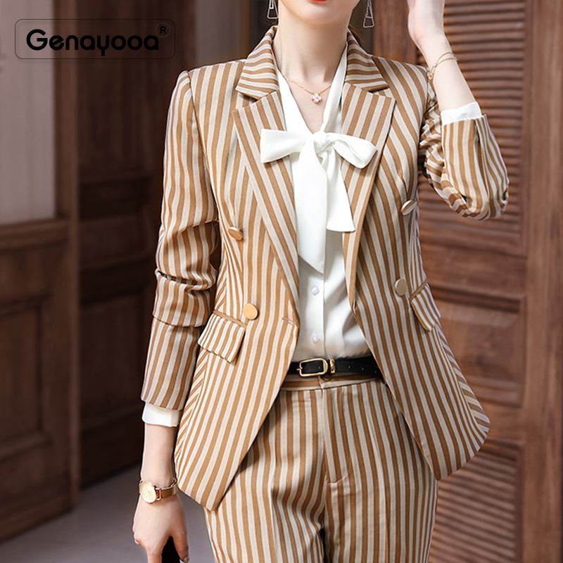 Genayooa Brand Office Striped Womens Formal Pantsuits Slim Plus Size Women's Suit Blazer Set Elegant Trouser Suits For Ladies