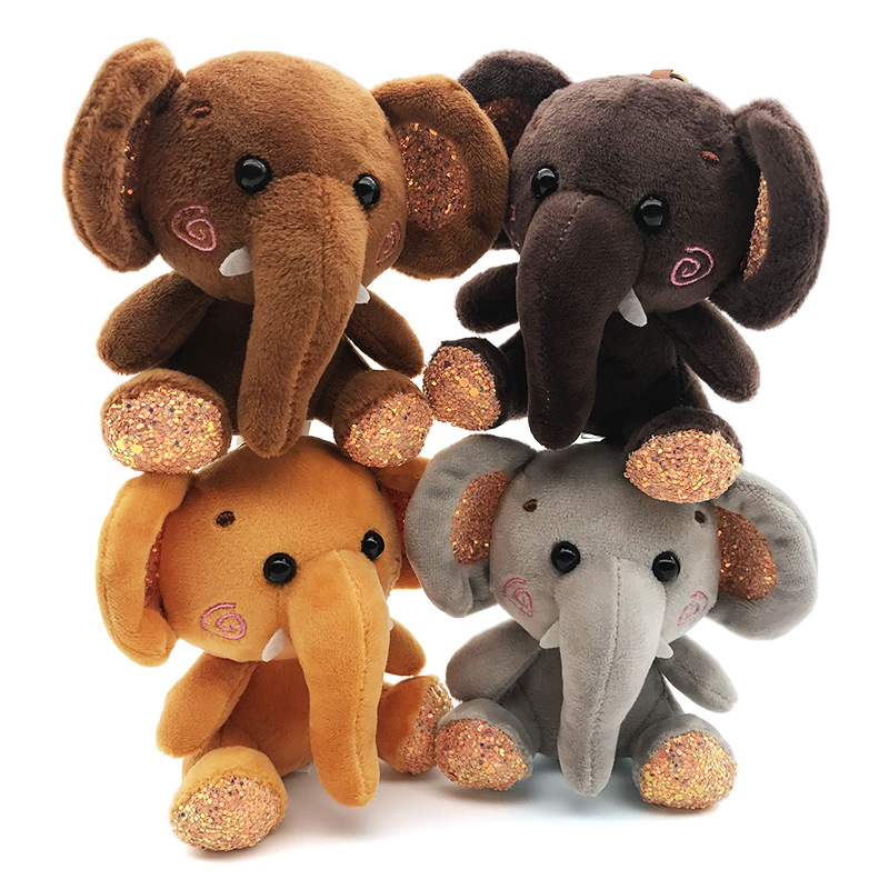 4colors Little Cute 10cm Elephant Sequin Plush Stuffed Toys Keychain Doll  Lovely Christmas For Kids Valentine Prese