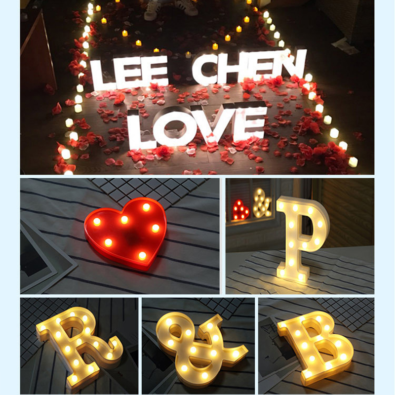 Plastic heart letter design led night light marquee sign for Night light design