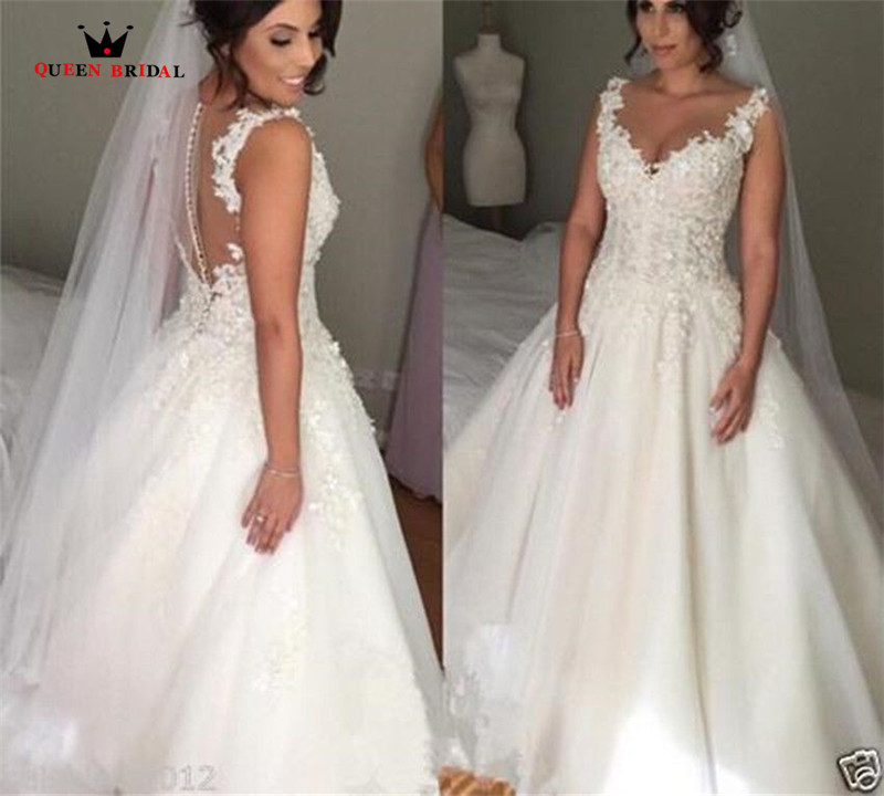 Custom Made A line Backless Lace Appliques Vintage Elegant Plus Size Wedding Dresses Wedding Gown 2018 Vestidos De Novia WS46