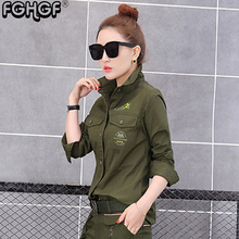 FGHGF Brand army green blouse women black blouse women Cotton Long Sleeve shirts Turn-down Collar Ladies Top Camisa 4804