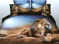 Leeuw Dekbed set 3D Beddengoed dekbedovertrek bed in een tas plaat spreien doona Animal print Queen size Volledige dubbele 5 STKS
