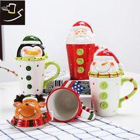 Pień Kubki Ceramiczne Filiżanki Pary Filiżanki Kawy Duża Pojemność Taśmy 3D Cartoon Zwierząt Kubek Christmas Kubek Prezent