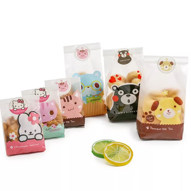 25 Pcs Christmas Candy Cookie Gift Bag Self Stand Holders Bake Biscuit Hand Made DIY Jewelry Plastic Packaging Bags