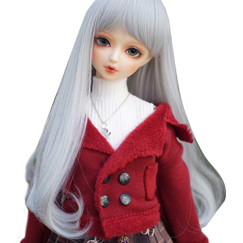 1/3 1/4 1/6 1/8 Bjd perruque argent gris Bjd perruque SD haute température fil pour BJD poupée cheveux