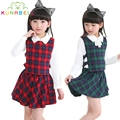 Summer Party Plaid Girls Clothing Set Long Sleeve Shirt+Plaid Vest+Plaid Skirt 3 Pcs Party Princess Girls Plaid Dress L201