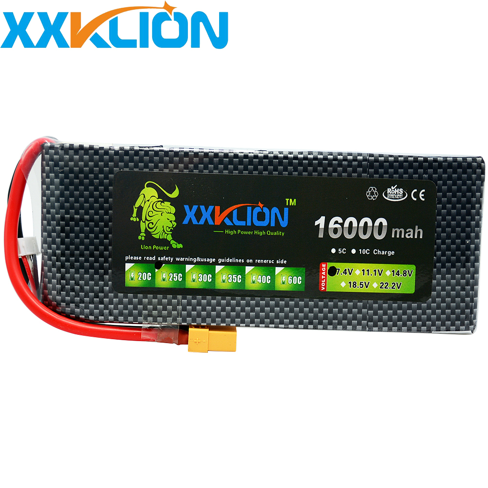 XXKLION drone Lipo battery pack 7.4v 16000mAh 25C 2S for rc airplane Aerial multi - axis unmanned aerial vehicle Free Shipping mos rc airplane lipo battery 3s 11 1v 5200mah 40c for quadrotor rc boat rc car