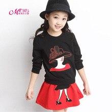 цена Baby Girls Clothes Sets 2018 Spring Autumn Children Clothing Shirt Blouses Coat+Skirt 2Pcs Kids Girls Suits 4 5 6 7 8 9 10 Years онлайн в 2017 году