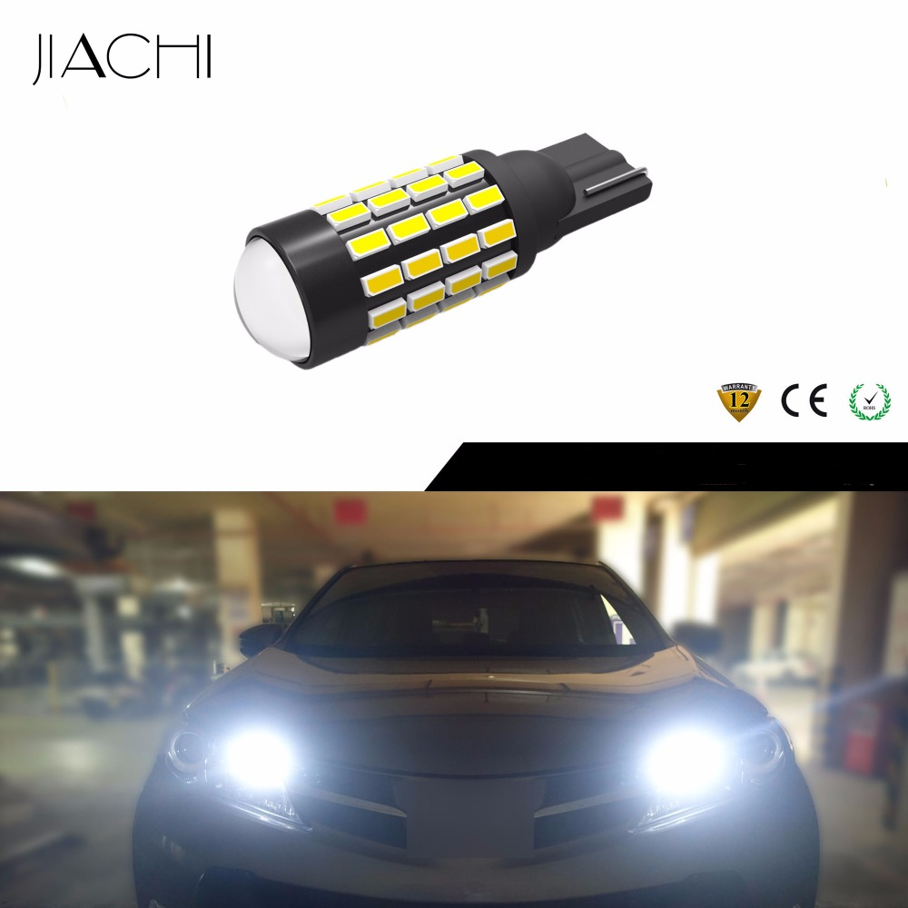 JIACHI 100 x Auto Parts T10 5W5 194 LED Car Light 3014SMD 54 Chips With Projector Lens Replacement Clearance Light White 12V 24V