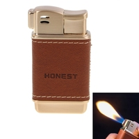 2016 NEW Fashion High Grade Metal Material Leather Design Refillable Naked Flame Inflatable Single Flame Lighter