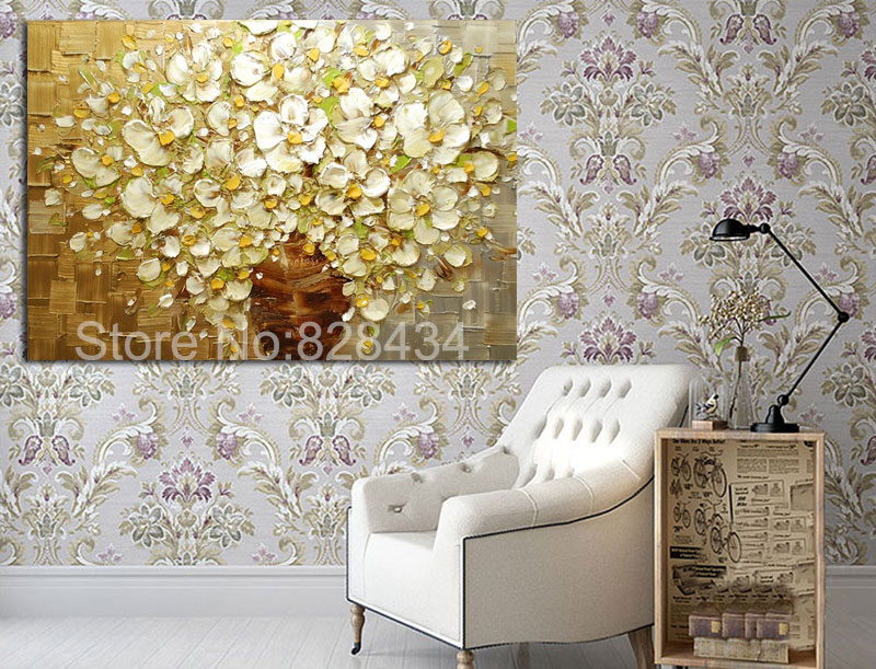 Wall art gold and white : Hand painted wall art abstract painting gold and