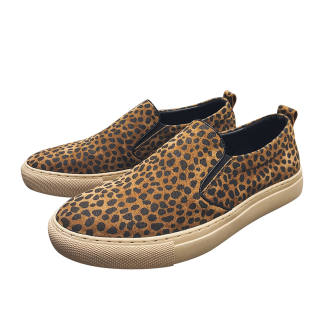 Spring Genuine Leather Slip-On Casual Shoes Leopard Print Flats Loafers High Quality Dress Male Sneakers Mens Shoes Luxury Brand
