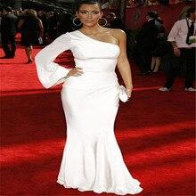 Eine Schulter Abendkleid Langarm Elegante Weiße Abendkleid Einfache Mermaid Celebrity Kleider 2016 Kim kardashian Kleid