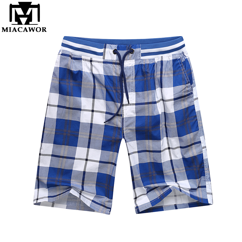 MIACAWOR Men Shorts Elastic-Waist Bermuda Summer Cotton Plus-Size Casual Fashion New