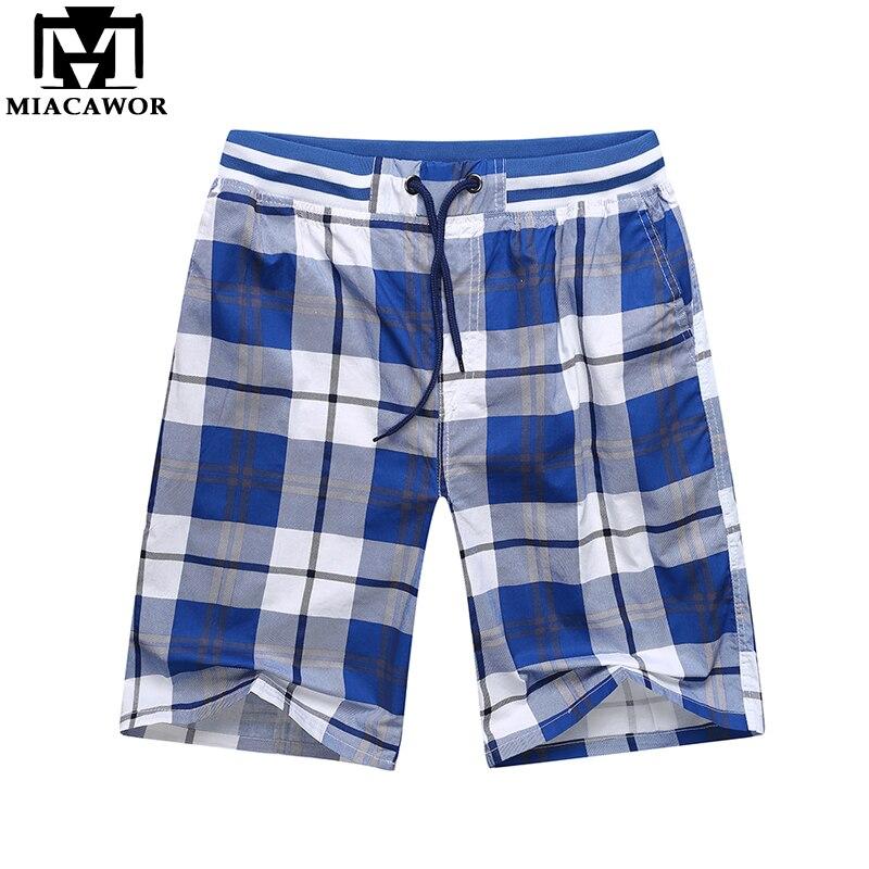 MIACAWOR New Summer Fashion Plaid Beach Shorts Cotton Casual Men Shorts Elastic Waist Bermuda Masculina Plus Size K817