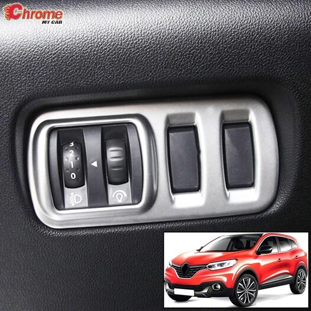 Dla Renault Kadjar 2018 2017 2016 2015 Chrome Head Tail Light Switch Panel przycisków pokrywa lampa przeciwmgielna wykończenie ramek akcesoria do formowania