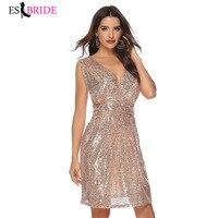 Sexy Deep V neck Backless Short Evening Dress Sleeveless Evening Dresses New Arrival Evening Prom Gowns for Women Elegant ES1145