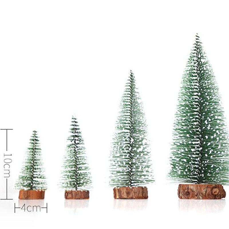 Mini Snow Pine Needle Tree Bauble Crafts Noel Tree Ornaments Wooden