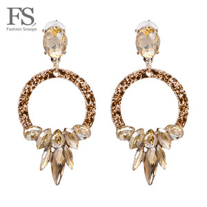 FASHIONSNOOPS Bohemian Fashion Earrings For Women Hot Charm Luxury Wedding Jewelry Shiny Crystal Statement Drop Dangle Earrings(China)