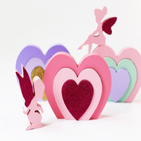 Home Decor Angel Heart Shape Building Blocks Creative Baby Bedroom Photography Props Ornament Christmas Gifts Best