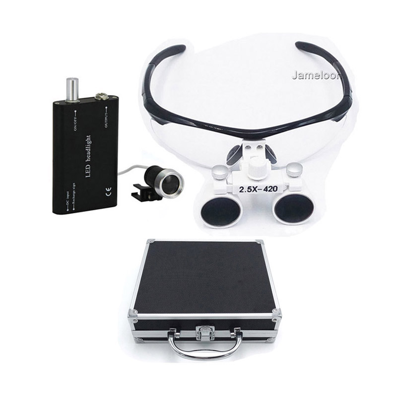 Metal box 2 5X magnifying surgical glasses medical dental operation loupe dentist magnifier enlarge lens with
