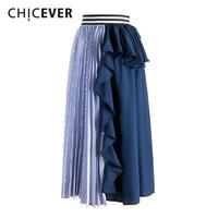 CHICEVER Patchwork Striped Summer Female Skirt Elastic High Waist Ruffles Irregular Midi Women Skirts Elegant Fashion Clothing