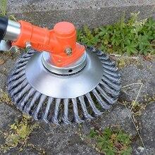 Круговая, из стальной проволоки Ландшафтная Роторная Щетка для сорняков скрученный узел круговая, из стальной проволоки щетка дисковая садовая режущая машина часть