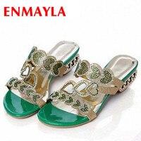 ENMAYLA New Summer Shoes Woman Low Heels Casual Flip Flops Sexy Rhinestone Sandals Women Cut outs Shoes