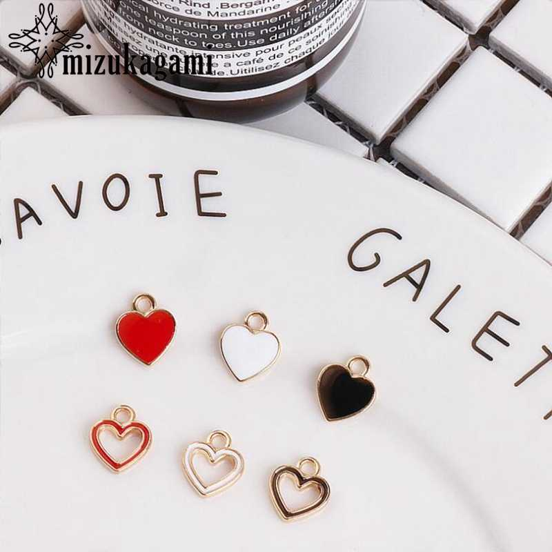 Zinc Alloy Fittings Hollow Caring Mini Enamel Heart Charms 10pcs/lot For DIY Fashion Jewelry Making Finding Accessories