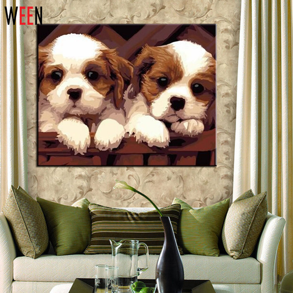 Frameless DIY Digital Oil Painting Canvas Oil Paintings Dog House Painting By Numbers Painting Unique Christmas Gift Home Decor in Painting Calligraphy from Home Garden