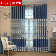 European high quality chenille embroidered Window curtains for Living Room blue luxury villa curtain Bedroom Kitchen Hotel