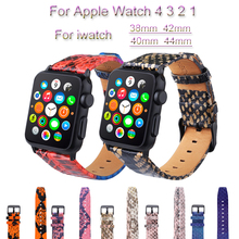 все цены на Snake Skin Leather Watch Band For Apple Watch 4 3 2 1 loop Bracelet Strap For iwatch 44mm 40mm 38mm 42mm Watchband Accessories онлайн