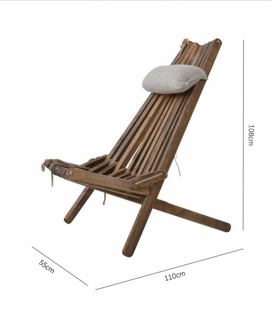 Outdoor Wood Folding Chair Lounge With Pillow And Seat Cushion Outdoor  Furniture Beach Chair Foldale Patio Balcony Chair Wooden