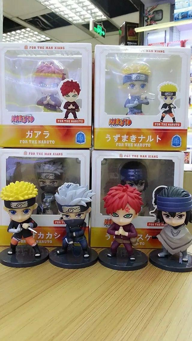 NARUTO Hokage Uzumaki Naruto Uchiha Sasuke Gaara Kakashi 10cm 4pcs/set Q version PVC Action Figures Model Toys