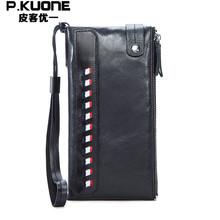 P.KUONE Genuine Leather Wallet Top Men Long Wallet Coin Purse Fashion Vintage Famous Brand Bag Card Holder Travel Male Clutch