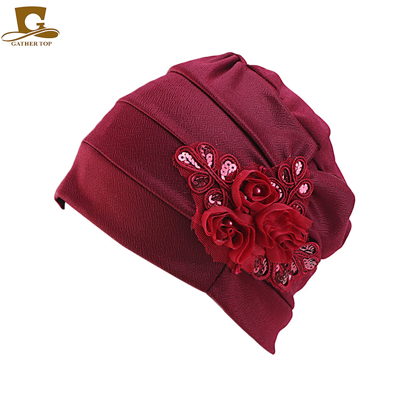 New women sequined flower Chemo beanie Cap Sleep Turban Hat Liner for Cancer Hair Loss caps Bonnet in Women 39 s Skullies amp Beanies from Apparel Accessories